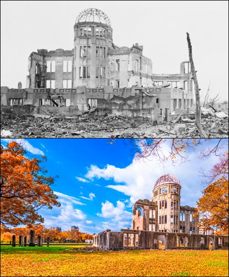 Antes e depois do templo budista destruído em Hiroshima