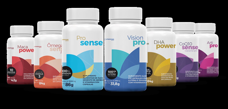 Suplementos do Vitaminas.com.vc com novas embalagens