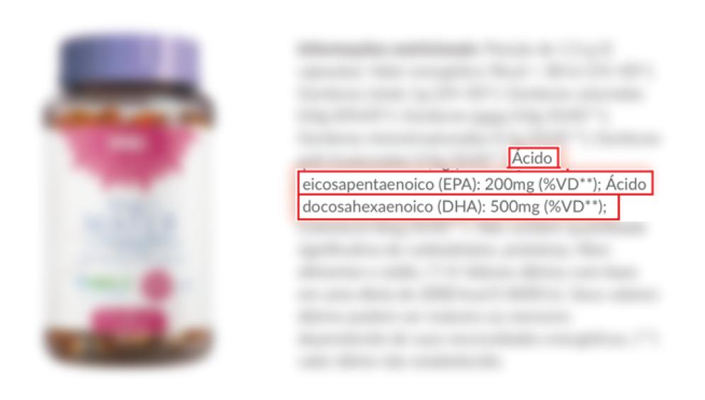 Foto de embalagem e informações nutricionais de suplemento DHA