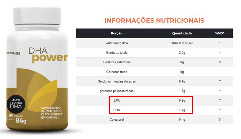 Informações nutricionais do suplemento DHA Power, do Vitaminas.com.vc