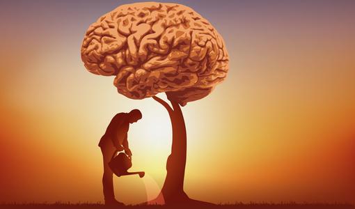 Ilustração de homem regando seu próprio cérebro
