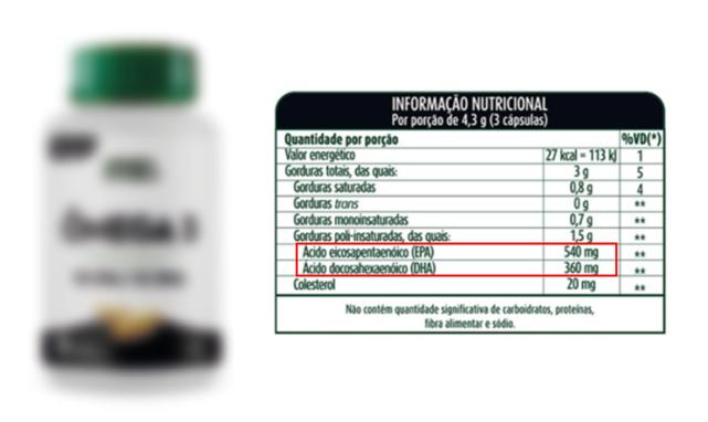 Suplemento de ômega 3 de concorrente com 540mg de EPA e 360mg de DHA
