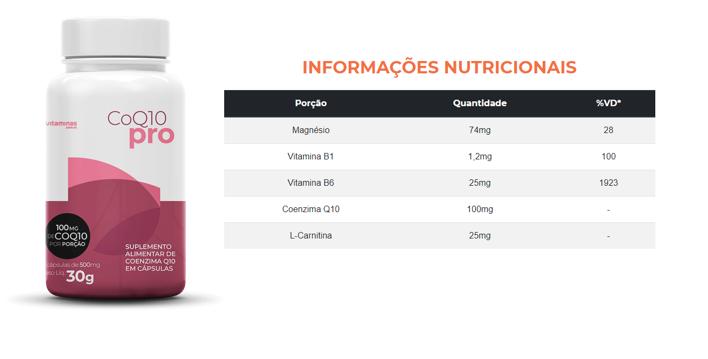 Foto do suplemento CoQ10 Pro do Vitaminas.com.vc